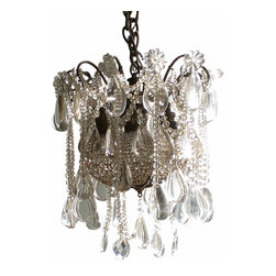 Beaded Unique Chandelier - One of a kind, all original antique chandelier, it has 6 standard size sockets. Each has a crystal beaded bulb cage that offers even more sparkle. This one is quite heavy, each one of the large crystals is solid.