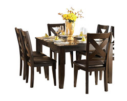 Homelegance - Homelegance Crown Point 10-Piece Dining Room Set in Merlot - Adorn your dining area with Crown Point collection . This grand scale casual dining in warm merlot finish is as strong and durable as they are stunning. table top is constructed of mango veneer with strong support tapered legs.