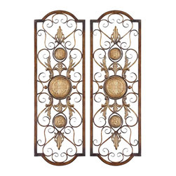 "Uttermost - Uttermost Micayla Panels 0.75 x 14 x 42"" (Set of 2), Antiqued Gold - This decorative wall art is made of hand forged and hand embossed metal. The finish is distressed, chestnut with burnished edges and antiqued gold details.Designer: Grace FeyockDimensions: 0.75"" depth by 14"" width by 42"" heightMaterial: metal"