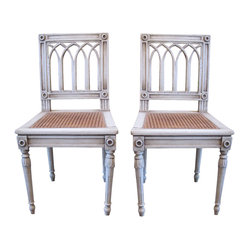 Pair of Antique White-Painted Swedish Chairs