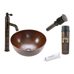 Premier Copper Products - Medium Round Vessel Copper Sink w/ ORB Faucet - PACKAGE INCLUDES: