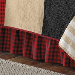 C & F Enterprises, Inc. - Alpine Lodge Bedskirt - This Alpine Lodge bed skirt brings a cozy and rustic flavor to your bed with all-over buffolo checks in red and navy that coordinate perfectly with this quilt collection.