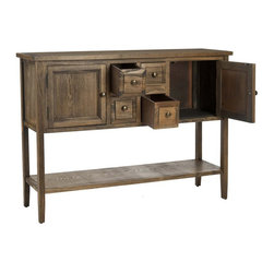 Safavieh - Safavieh Charleston Oak Finish Sideboard - Safavieh - Buffet Tables & Sideboards - AMH6517A - This Safavieh Charleston Oak Finish Sideboard features a handsome oak finish. Four drawers two doors and a shelf add practicality to this handsome well crafted side board.