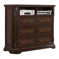 Homelegance - Homelegance Spanish Bay 54 Inch TV Chest in Dark Brown Cherry - The Spanish Bay Collection exemplifies the best of Old Europe. Raised ash burl veneer panels are applied to each drawer front. Antiqued brass hardware adds a distinctive detail which subtly contrasts with the dark brown cherry finish. Every case piece features graceful acanthus carvings with marble tops on both the dresser and night stand. The focal point of Spanish Bay is the low post bed which incorporates the many design elements of the other items in the collection and brings added flare with oversized carved finials and a one of a kind floral and leaf carving overlayed on the cherry veneer headboard. Bring home Spanish Bay and bring home the grandeur of European heritage.