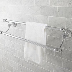 "Mercer Double Towel Bar, 24"", Chrome finish - Maximize space in the bath with our Mercer Double Towel Bar. Graceful curves connect the two bars, crafted of drop-forged brass and thickly plated for strength. 26.5"" wide x 5.75"" deep x 7"" high Crafted of brass, then thickly plated for strength. See available finishes below. Sealed with a clear protective lacquer. Mounting hardware included. View our {{link path='pages/popups/fb-bath.html' class='popup' width='480' height='300'}}Furniture Brochure{{/link}}."