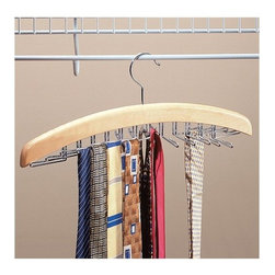 Richards Homewares - Natural Tie & Belt Wood Metal Hanger Holder - Get Organized with this handy tie and belt hanger. Featuring a natural wood finish and 24 chrome swiveling clips for your belts and ties. Getting dressed in the morning will be a snap, plus, your closet will be look organized and stylish. It's even made of sustainable and earth friendly products. A great organizational tool for your closet !