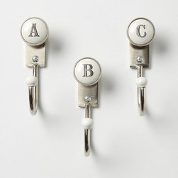 Alphabet Hooks - I love Anthropologie for many reasons, one is their constantly changing inventory of knobs and hooks. I have great luck finding super cool hooks like these on a regular basis.