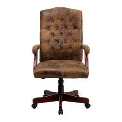 Flash Furniture - Flash Furniture Classic Executive Office Chair in Bomber Brown - Flash Furniture - Office Chairs - 802BRNGG - This luxurious traditional chair is available in Brown Suede. Ergonomically designed for a healthy way to work this chair will provide you with ample comfort, in the office or at home. Never before has a chair this elegant and with so many features have been offered for such a low price! [802-BRN-GG]