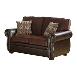 Homelegance - Homelegance Beckstead Loveseat with 2 Pillows in Chocolate and Dark Brown - The Transitional style of the Beckstead collection is accented with contrasting fabrics, coordinating toss pillows and nail-head accent. Chocolate chenille covers the seating of the collection while dark brown bi-cast vinyl flanks each piece. The coordinating pillows have a slightly modern flair that blends effortlessly with the collection.