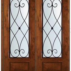 "Prehung Double Door 96 Wood Alder Charleston 3/4 Lite Wrought Iron - SKU#E18662WCH-G-WE834CH2CHBrandGlassCraftDoor TypeExteriorManufacturer Collection3/4 Lite Entry DoorsDoor ModelCharlestonDoor MaterialWoodWoodgrainKnotty AlderVeneerPrice4945Door Size Options  +$percentCore TypeDoor StyleDoor Lite Style3/4 LiteDoor Panel Style1 PanelHome Style MatchingDoor ConstructionEstanciaPrehanging OptionsPrehungPrehung ConfigurationDouble DoorDoor Thickness (Inches)1.75Glass Thickness (Inches)Glass TypeDouble GlazedGlass CamingGlass FeaturesLow-E , TemperedGlass StyleGlass TextureWater , Flemish , Baroque , Fluted , Rain , Glue Chip , ClearGlass ObscurityLight Obscurity , Moderate Obscurity , Highest Obscurity , No ObscurityDoor FeaturesDoor ApprovalsWind-load Rated , SFI , TCEQ , AMD , NFRC-IG , IRC , NFRC-Safety GlassDoor FinishesDoor AccessoriesWeight (lbs)719Crating Size25"" (w)x 108"" (l)x 52"" (h)Lead TimeSlab Doors: 7 Business DaysPrehung:14 Business DaysPrefinished, PreHung:21 Business DaysWarrantyOne (1) year limited warranty for all unfinished wood doorsOne (1) year limited warranty for all factory?finished wood doors"