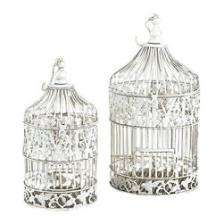 "Benzara - Set of 2 White Metal Round Birds Cages 21.5"" - Set of 2 White Metal Round Birds Cages 21.5"". Dome shape birds cages are made from cast solid metal. This set include two bird cages. Hook attached for easy hanging on the roof. Dimension: Tall Bird cage 22""H and Small Bird cage is 15""H."