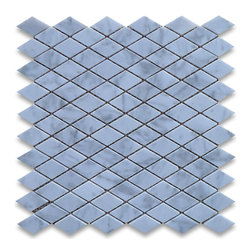 "Stone Center Corp - Carrara Marble Rhomboid Diamond Mosaic Tile 1 x 1 7/8 Polished - Carrara white marble 1x1 7/8"" rhomboid pieces mounted on 12"" x 12"" sturdy mesh tile sheet"
