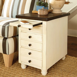 Reading Nooks | Smart Furniture - Heartland Chairside Table is a lovely additional to a coastal reading nook.
