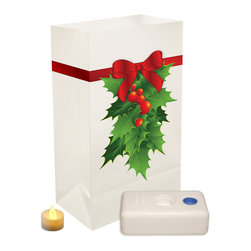LumaBase Luminarias - Battery Operated Luminaria Kit Holly - Battery operated luminarias will create festive lighting for your special event. The luminarias are weather resistant, reusable and can be used indoors or outdoors. The LumaBase is a water weighted base that will anchor the bag and hold the battery operated tea light secure. For outdoor use only. Included: 12 Plastic Bags, 12 Battery Operated Tea Light Candles (batteries included), 12 LumaBases