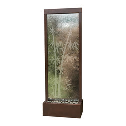 Bluworld - 6' Dark Copper Bamboo Gardenfall Floor Water Fountain - Skip the spa, steep a cup of tea and settle in near this tranquil water feature. Relax into the sounds of water descending down the etched glass and gently pooling among the river rocks below.