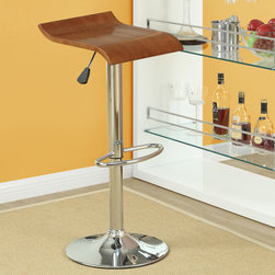 """Modway - Bentwood Bar Stool (Set of 2) - The Bentwood bar Stool is constructed of a chromed steel frame and base. It has a bent plywood seat with natural wood finishes. The stool operates on an adjustable hydraulic piston. The item is made similar in style to the award winning LEM piston stool. Perfect for entertaining guests at your own bar at home, or for stylish seating around the counter. Features: -Bar stools. -Finish: Oak. -Chromed steel frame and base. -Plywood seat with attractive wood veneer. -Hydraulic adjustable height. -1 Year warranty. Dimensions: -Seat height: 23""""-31"""". -Overall: 24.5""""-32.5"""" H x 14"""" W x 14.5"""" D, 30 lbs."""