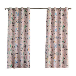 "Best Home Fashion - Alphabet Room Darkening Grommet Top Curtain - 1 Pair, Pink, 84"" L - These fun Alphabet print curtains are perfect for any child's room."