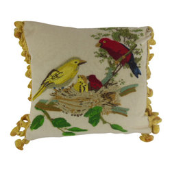 "www.pillowtalkdirect.com - 13"" x 15"" Hand Embroidered Bird Family Pillow - 13"" X 15"" Hand embroidered charming scene of bird family on cotton, damask back, Silk tassel fringe. Down fill."