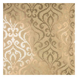 Brewster Home Fashions - Venus Brass Foil Mini Damask Wallpaper Bolt - Polished tiles pixels with a luxe metallic finish add razzle dazzle to this modern damask wallpaper. The global chic design has a composition and texture evocative of a fine mosaic for walls.