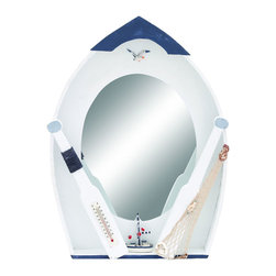 Benzara - Seaside Nautical Row Boat Mirror decor With Thermometer - There's nothing like a refreshing piece of decor like this innovative row boat shaped mirror. Perfect for all those who love the sea and love the harbor. This decor features a top view of a row boat with a handy mirror in the center, with like flying seagulls and a handy thermometer. The perfect mirror for a fresh ocean reflection.