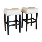 Great Deal Furniture - Chantal Leather Stools (Set of 2), Ivory Counter Height - These comfortably soft, ivory bonded leather counter stools are a perfect transitional piece from your kitchen to your living room. Studded accents are featured along the edges of the seat and the black metal kickplate gives this stool a contemporary look