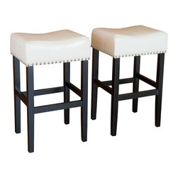 Great Deal Furniture - Chantal Leather Stools, Counter Height, Ivory, Set of 2 - These comfortably soft, ivory bonded leather counter stools are a perfect transitional piece from your kitchen to your living room. Studded accents are featured along the edges of the seat and the black metal kickplate gives this stool a contemporary look