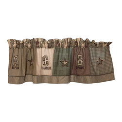 "Pem America - Alpha Bravo Charlie Window Valance 18"" x 70"" x 3"" - Alpha Bravo Charlie is a patchwork of olive and tan prints with embroidery and is a popular boys quilt.  This pieced, 100% cotton face quilt is the perfect quilt for a boys bedroom and it is built to last.  The deep greens and tans featured in the camouflage look are easy to coordinate with your other bedroom furniture.  This quilt has applique images of helicopters, helmets, and tanks! Valance measures 18 inches high by 70 inches wide with 3 inch rod pocket. 100% cotton face material. Machine wash cold/gentle, do not bleach, tumble dry low."