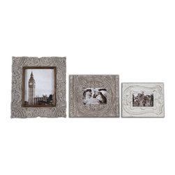 Uttermost - Uttermost Askan Antique White Photo Frames, Set of 3 - 18556 - Uttermost's accessories combine premium quality materials with unique high-style design.