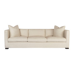 Kathy Kuo Home - Agosto Modern Classic Feather Cloud Natural Linen Sofa - Contemporary style meets everyday comfort in the plush confines of this modern sofa. Upholstered in a light linen, this piece can also be covered in whatever fabric you choose.  The possibilities are endless and the guarantee on the frame is for life. Includes two (2) x feather down toss pillows.  Fabric is not treated with Scotchguard™.  For customers with children or pets, it is recommended.