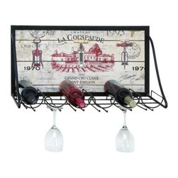 Woodland Imports Savona Vintage Vineyard 6 Bottle Wine and Stemware Rack - Add a touch of vintage charm to your home decor with the Woodland Imports Savona Vintage Vineyard 6 Bottle Wine and Stemware Rack. This French-inspired wine rack features a solid metal frame in polished black and a hardwood display in weathered cream. With a French vineyard motif, this wall-mounted rack carries up to six wine bottles.