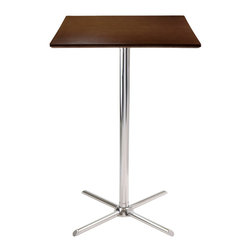"""Winsome Wood - Winsome Wood Kallie Square Pub Table w/ X-Base - Square Pub Table w/ X-Base belongs to Kallie Collection by Winsome Wood Kallie Square Pub Table is perfect additional for your kitchen or game room. Table top size is 23.62W x 23.62""""D. Laminated Table Top in Cappuccino Finish with chrome leg and base. Assembly Required Pub Table (1)"""