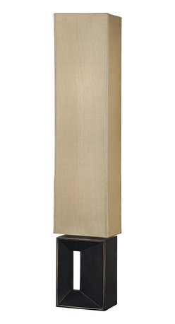 """Kenroy Home - Asian Kenroy Niche Bronze Finish Floor Lamp - In a rich oil-rubbed bronze finish with a rectangular amber fabric shade the Niche floor lamp will create its own special place in your decor. Oil-rubbed bronze finish. Rectangular amber fabric shade. Takes two 75 watt bulbs (not included). On-off foot switch. 50 3/4"""" high. 10"""" wide. 7"""" deep.  Oil-rubbed bronze finish.  Rectangular amber fabric shade.  Takes two 100 watt bulbs (not included).  On-off foot switch.  50 3/4"""" high.  10"""" wide.  7"""" deep."""