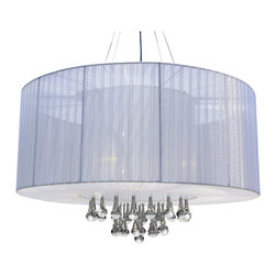 Lightupmyhome - Modern White Drum Crystal Pendant Chandelier Light - This gorgeous white drum pendant is sure to brighten your room.  With a classic design and a modern twist, it is sure to light up your home.