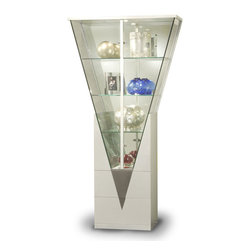 Chintaly Imports - Triangular Curio with Mirrored Interior - Silver - This Triangular Shape Curio designed by Chintaly Imports boasts an ultra-modern and chic style to show off your china and silverware. It also features geometric shaping and contrasting design, which include a mirrored interior and three tempered glass shelves. Its rectangular base has a lovely silver finish, while the triangular display is guaranteed to create a stylish and distinctive environment in your modern-styled interior.