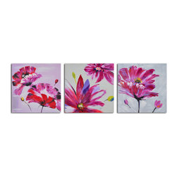 Frenzy of fuschia florals Hand Painted 3 Piece Canvas Set - Bright bursts of floral color, this triptych of fuchsia flowers comes to life with complementary spots of green. Hang this above your dining room table and conversations will come alive in such a vibrant space.