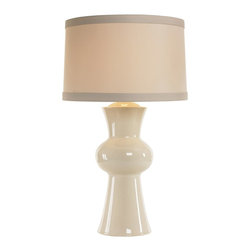 Arteriors - Gordon Lamp - This double urn shaped porcelain table lamp in an ivory aged crackle finish is topped with a putty drum shade featuring contrasting a darker trim band at the top and bottom. 3-way switch. Takes one 150 watt 3-way bulb.