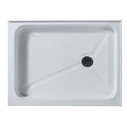 "Vigo Industries - Vigo 32 x 40 Rectangular Shower Tray White Right Drain - White - Features: This Vigo shower tray serves as an excellent solution to prevent leaks for your custom or pre-built shower enclosure Constructed of acrylic with fiberglass reinforcement, this Vigo shower base features a double threshold, textured bottom for added safety Durable cross-linked cast acrylic shell is extremely scratch and stain resistant, yet renewable because the color goes all the way through the material Non-porous surface makes cleaning and sanitizing faster and more effective Multi-layered backing of thick fiberglass / resin encloses wood reinforcement to prevent flexing of floor pan At least 30% thicker and stronger than other makes Pre-leveled with integral tile flange on 2 sides to facilitate installation Right-hand or Left-hand drain configuration Textured bottom for extra safety 2 Year Limited Warranty Standard 3 1/2"" pre-drilled drain opening Overall Dimensions: 40 1/8"" W x 32 3/8"" L x 5 7/8"" H How to handle your counter View Spec Sheet"