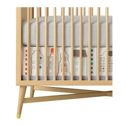 """DwellStudio - Skyline Crib Skirt - Features: -Material: 100% Cotton with 65% Poly/35% Cotton platform. -Designed to mix and match. -Machine wash cold gentle cycle. -Do not bleach. -Tumble dry low. Specifications: -Drop: 12"""". -Dimensions: 52"""" H x 28"""" W."""