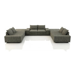 Blumen U Sectional (Eco-Friendly) - Modern style eco-friendly sectional sofa that is made with 100% alder wood, all natural latex and eco wool, and comes in a large variety of natural or recycled fabrics. It's made in Los Angeles, and is natural from the inside out with no use of chemicals or fire retardants. It can also be made to the inch, and customized to the exact layout you need.
