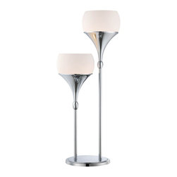 Lite Source - Lite Source Celestel Modern / Contemporary Table Lamp XSL-52222 - Featuring two lights at varied heights, this Lite Source table lamp is sure to please. Ideal for living rooms, bedrooms and more, this stunning contemporary table lamp incorporates mid-century modern styling with updated tones, including frosted glass and a beautiful Chrome finish.