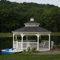 Gazebos - Inspired by the hills of Kentucky, the Lexington White Vinyl Gazebo fits perfectly up against this quiet pond setting.