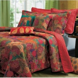 Greenland Home Fashions Jewel Bonus Quilt Set - The Greenland Home Fashions Jewel Bonus Quilt Set's highly stylized floral pattern lets you play with rich colors and leafy shapes to create something that's more engaging than just another blanket-and-sham combo. This set includes a comforter with one or two shams (depending on the size you choose), and each piece is made using high-quality, 100% cotton for the face, reverse, and fill. The comforter's solid-color reverse really pops when you turn it down for bedtime, or you can flip it completely for a totally different look. Machine-quilted stitching adds extra durability while giving it a richer feel, and each comforter has an oversized shape designed to accommodate today's deeper mattresses. Choose from available sizes.Dimensions:Twin comforter: 88L x 68W in. Full/queen comforter: 90L x 90W in.King comforter: 95L x 105W in.Small sham: 20L x 26W in.Large sham: 20L x 36W in.About Greenland Home FashionsFor the past 16 years, Greenland Home Fashions has been perfecting its own approach to textile fashions. Through constant developments and updates - in traditional, country, and more modern styles – the company has become a leading supplier and designer of decorative bedding to retailers nationwide. If you're looking for high-quality bedding that not only looks great but is crafted to last, consider Greenland.This global fusion quilt set features a stylized floral and fruit print in bright jewel tones over-stitched in random waves of bright blue yarn. Retro-modern styling reverses to a coordinating solid color with contrasting quilting. Machine quilted in thick bright yarn for durability. Oversized for better coverage on today's deeper mattresses. Prewashed and preshrunk. Set includes: Quilt and two pillow shams (one sham per twin set), plus two decorative pillows. Pattern: Floral face with striped reverse. Color: Multi. Style: Teen/Tween/Young Adult. All cotton face, back and fill. Care instructions: Machine wash. Dim