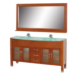 """Wyndham Collection - Daytona Cherry with Green Glass Top with Green Integral Sinks - The Daytona 63"""" Double Bathroom Vanity Set - a modern classic with elegant, contemporary lines. This beautiful centerpiece, made in solid, eco-friendly zero emissions wood, comes complete with mirror and choice of counter for any decor. From fully extending drawer glides and soft-close doors to the 3/4"""" glass or marble counter, quality comes first, like all Wyndham Collection products. Doors are made with fully framed glass inserts, and back paneling is standard. Available in gorgeous contemporary Cherry or rich, warm Espresso (a true Espresso that's not almost black to cover inferior wood imperfections). Transform your bathroom into a talking point with this Wyndham Collection original design, only available in limited numbers. All counters are pre-drilled for single-hole faucets, but stone counters may have additional holes drilled on-site. Dimensions: 63 in. x 22 in."""