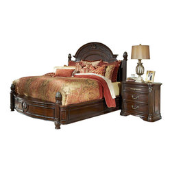 """AICO Furniture - """"Michael Amini"""" Villagio 4PC Bedroom Set in Hazelnut - This Bedroom Set from the Villagio collection by AICO includes Poster Bed, (1) Nightstand, Dresser and Mirror."""