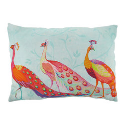 `Perfect Trio` Peacocks Reversible Indoor / Outdoor Throw Pillow 24 x 18 - This 24 inch by 18 inch indoor / outdoor throw pillow adds a wonderful accent to your home or patio. The pillow has a weather resistant polyester exterior, that resists both moisture and fading. The pillow features a trio of brightly colored peacocks on the front, and a single peacock is featured on the back. They have 100% polyester stuffing. These pillows are crafted with pride in the Blue Ridge Mountains of North Carolina, and add a quality accent to your home.