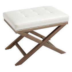 Sunpan - Modesto Bench, Ivory Leather With Reclaimed Leg - This small scale bench looks fabulous on its own or in pairs for extra seating. Features a luxurious tufted top with silver nail head and a reclaimed x-base. Stocked in grey, brown and ivory bonded leather. No assembly required.