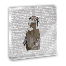 """Made on Terra - Standing Otter Mini Desk Plaque and Paperweight - You glance over at your miniature acrylic plaque and your spirits are instantly lifted. It's just too cute! From it's petite size to the unique design, it's the perfect punctuation for your shelf or desk, depending on where you want to place it at that moment. At this moment, it's standing up on its own, but you know it also looks great flat on a desk as a paper weight. Choose from Made on Terra's many wonderful acrylic decorations. Measures approximately 4"""" width x 4"""" in length x 1/2"""" in depth. Made of acrylic. Artwork is printed on the back for a cool effect. Self-standing."""