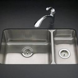 "KOHLER - KOHLER K-3174-NA Undertone High/Low Undercounter Kitchen Sink with Left Basin - KOHLER K-3174-NA Undertone High/Low Undercounter Kitchen Sink with Left Basin Depth of 9-1/2"" and Right Basin Depth of 5-1/2"""