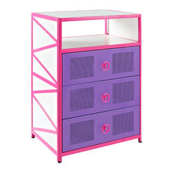 Powell - Powell Girls Buggy Three Drawer Chest - The Girls Buggy Chest is perfect for adding an eyecatching, fun accent to a little girls bedroom. The perfect complement to the Girls Jeep Bed or an accent piece to navigate any girls jungle. Three roomy drawers and a shelf for all of her treasures, this piece provides ample storage space. The bright pink, purple and white finish will add a fun look to any space.