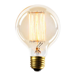 Brooklyn Bulb Co. - Midwood G25 Vintage Style Edison Bulb, 40W (E26) - Set of 4 - Brooklyn Bulb Co. introduces an exclusive vintage style bulb series of artfully crafted, classic shapes made with hand-woven thread filament and clear glass. Each 40W bulb fits a standard light socket, making it an easy, fun alternative to any basic light bulb, maintaining a life span of up to 2,000 hours. Each bulb illuminates with a warm amber glow, filling any space with the utilitarian ambiance reminiscent of the original tungsten filament bulbs of the mid-20th Century.